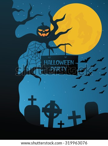Halloween Party On The Grave Yard With Dark Blue Sky - stock vector