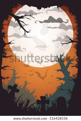 Halloween Party Orange Old Movie Style Poster. Vector illustration