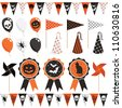 halloween party pack with bunting, balloons and rosettes, isolated on white - stock vector