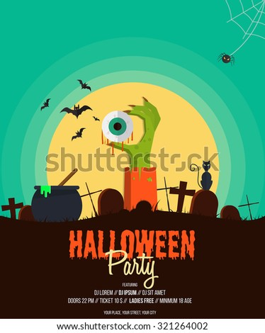 Halloween Party Poster.Flat design Vector illustration. - stock vector
