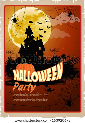 Halloween party. Poster happy holiday. Night background with moon, silhouettes of a terrible mysterious castle - stock vector