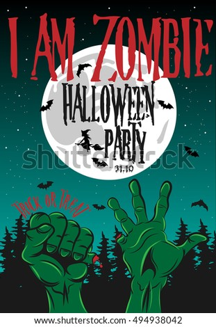 Halloween Party Poster I am Zombie. Vector