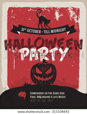 Halloween party poster. Simply flat design, dark creepy mood. - stock vector