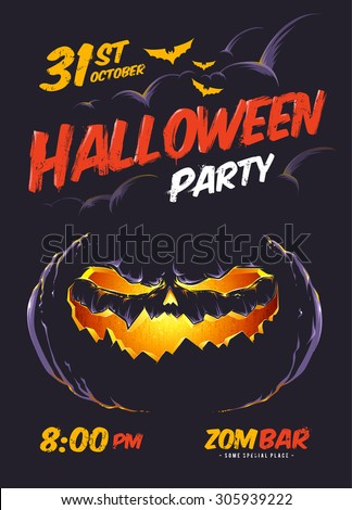 Halloween party poster template. Vector art of halloween pumpkin glowing in darkness. Vector typography.  - stock vector