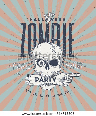Halloween party poster with zombie head and hand - line art vector illustration - stock vector