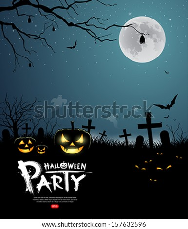 Halloween party scary design background, vector illustration - stock vector