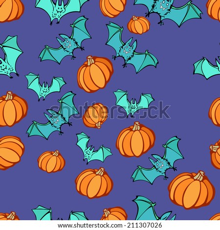 Halloween party seamless pattern. Vector illustration, EPS 10. - stock vector