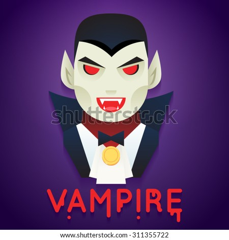 Halloween Party Vampire Role Character Bust Icons Stylish Background Flat Design Greeting Card Vector Illustration - stock vector