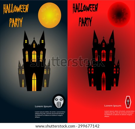 Halloween party with dracula house background - stock vector
