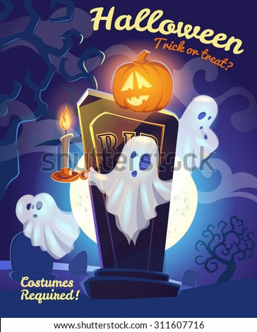 Halloween placard. Vector illustration with pumpkin and ghosts on cemetery. EPS10