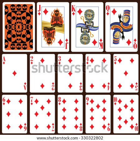 Halloween poker playing cards. Diamond suit and back - stock vector