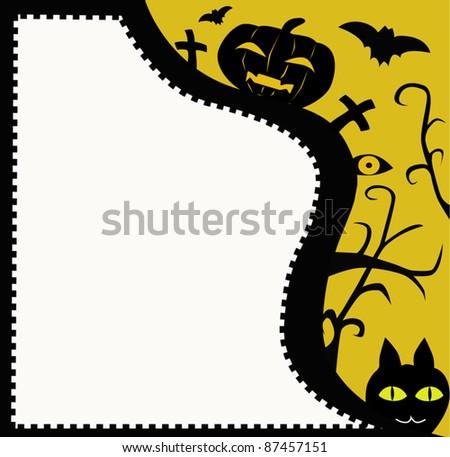 Halloween postcard with friends. - stock vector