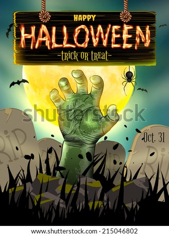 Halloween poster for horror holiday design. EPS 10 vector file included - stock vector