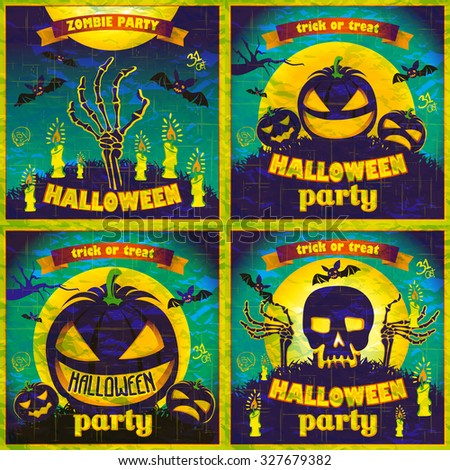 Halloween Posters set. Vector illustration. art night holiday - stock vector