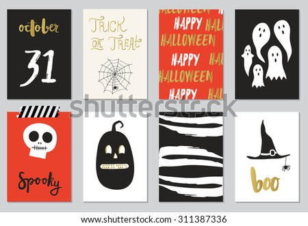 Halloween Posters set. Vector illustration. Collection of 8 journaling cards. - stock vector