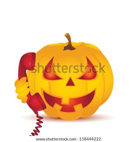 Halloween Pumpkin and telephone - stock vector