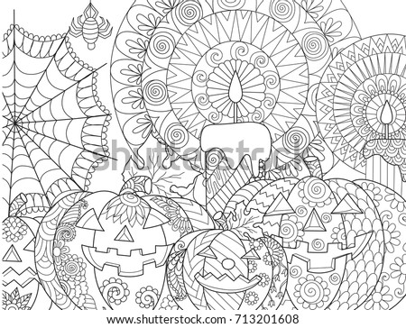 Halloween Pumpkincandlesspidercobweb For Adult Coloring Book Page And Design Element
