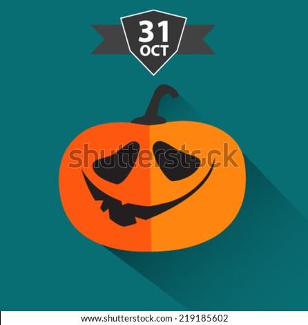 halloween pumpkin card in flat design  - stock vector