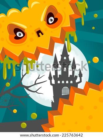 Halloween pumpkin castle poster - stock vector