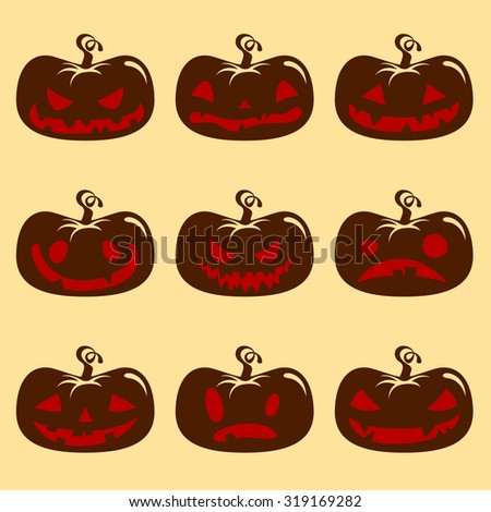 Halloween pumpkin face set with different emotions - stock vector
