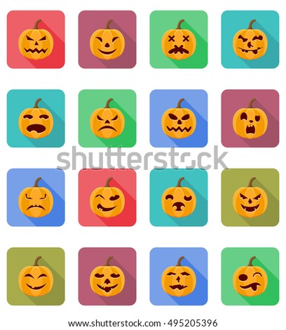 halloween pumpkin flat icons vector illustration isolated on background