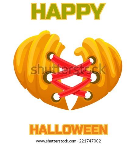 halloween pumpkin heart love - stock vector