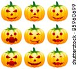 halloween pumpkin icons - vector illustration - stock vector