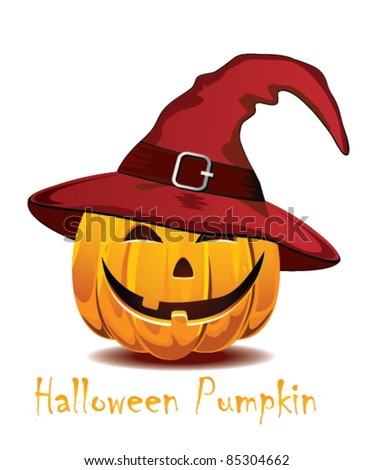 Halloween pumpkin in the  red hat - stock vector