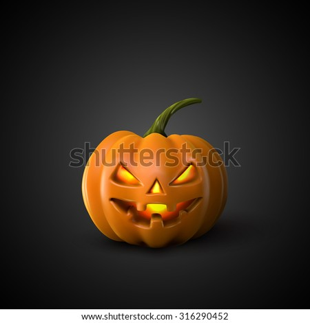 Halloween Pumpkin Jack Lantern. Holiday Vector Illustration Of Realistic Pumpkin - stock vector