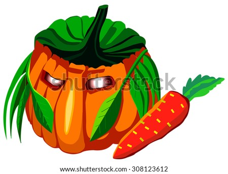 Halloween pumpkin, Jack-o'-lantern vector illustration, spooky hunter mask with carrot gun, isolated on while - stock vector