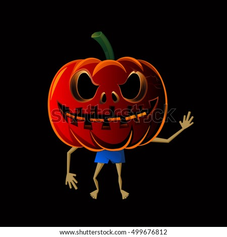 Halloween Pumpkin man isolate on black background, vector illustration.