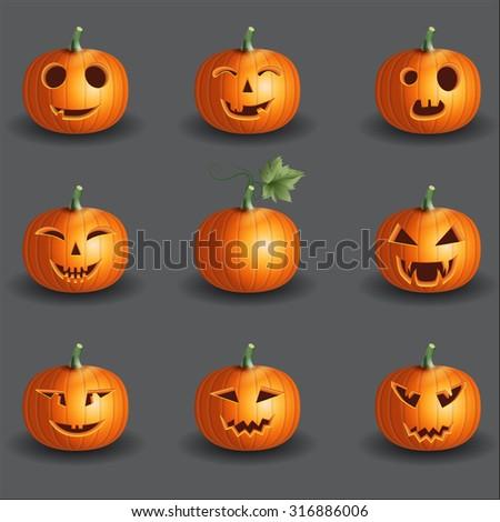 Halloween pumpkin objects jack o lantern realistic vector set background - stock vector