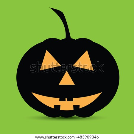 Halloween pumpkin on a green background - vector