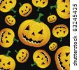 Halloween pumpkin pattern - stock vector