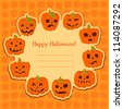 Halloween pumpkin set. Set of Vector Halloween Design Elements. Halloween. Vector illustration. Halloween stickers. Cute Halloween party card with space for text - stock vector