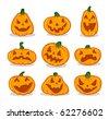 Halloween Pumpkin Set, vector illustration - stock vector