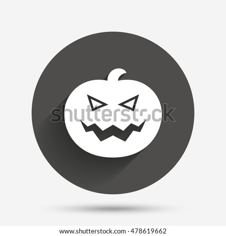Halloween pumpkin sign icon. Halloween party symbol. Circle flat button with shadow. Vector