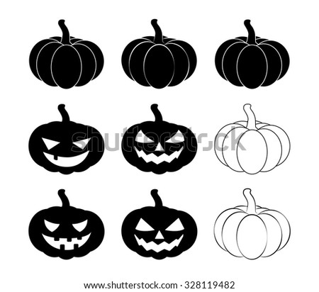 Halloween pumpkin silhouette set vector illustration, Jack O Lantern  isolated on white background. Scary orange picture with eyes. - stock vector