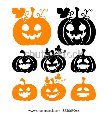 Halloween pumpkin silhouettes isolated on white background. Vector illustration. - stock vector