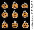 Halloween pumpkin stickers - vector illustration - stock vector