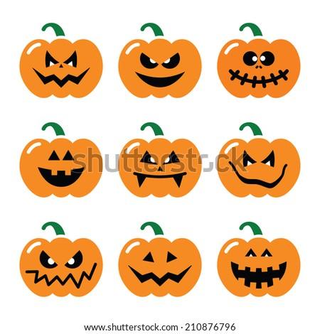 Halloween pumpkin vector icons set  - stock vector