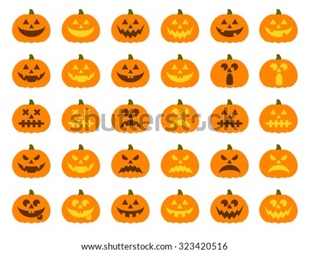 Halloween pumpkin vector 30 icons set, Emotion Variation. Simple flat style design elements. Set of silhouette spooky horror images of pumpkins. Scary Jack-o-lantern facial expressions Illustration.  - stock vector