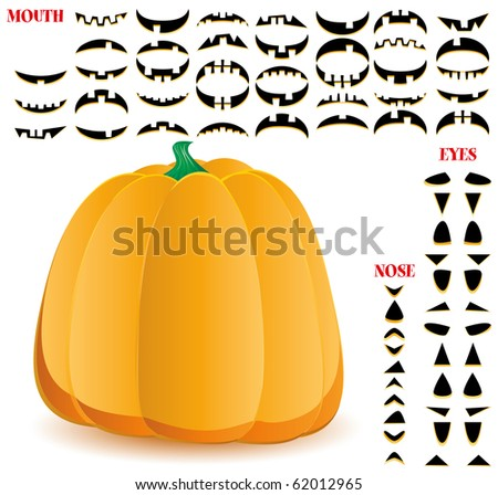 Halloween pumpkin with big set of mouths, eyes and noses for Jack O`Lantern face, part 11, vector illustration - stock vector