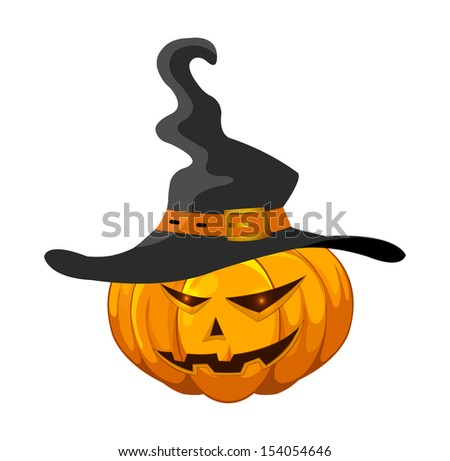 Halloween pumpkin with hat. Halloween pumpkin jack-o-lantern with angry faces/vector illustration isolated on white background.  - stock vector