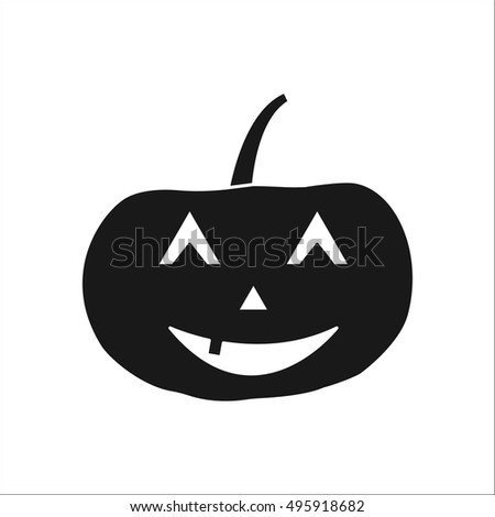 Halloween pumpkin with scary face sign silhouette symbol icon on background