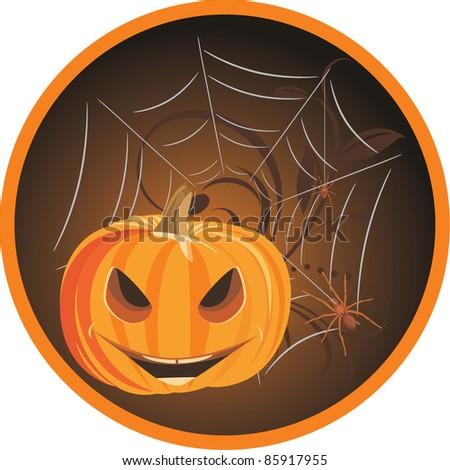 Halloween pumpkin with spiders. Sticker. Vector - stock vector
