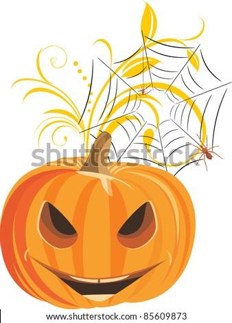 Halloween pumpkin with spiders. Vector - stock vector