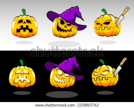 Halloween pumpkin with various emotions. Painted pumpkins in magic hat in cartoon style for design style Halloween. - stock vector
