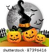 Halloween pumpkin with witches hat - stock vector