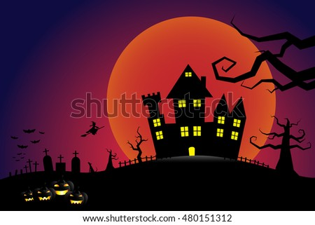 Halloween pumpkins and a flying witch from dark castle with bloody Moon background